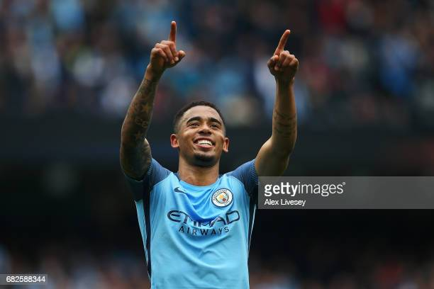 Gabriel Jesus of Manchester City celebrates scoring his sides second goal the Premier League match between Manchester City and Leicester City at...