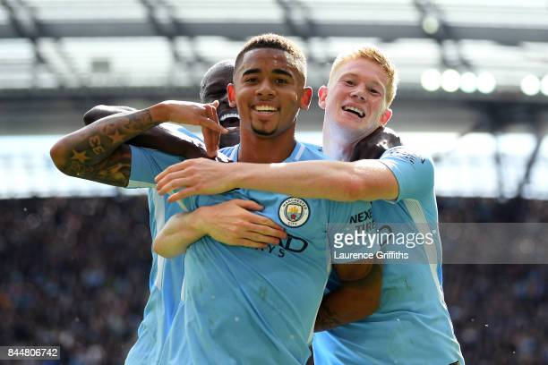 Gabriel Jesus of Manchester City celebrates scoring his sides second goal with Kevin De Bruyne of Manchester City during the Premier League match...