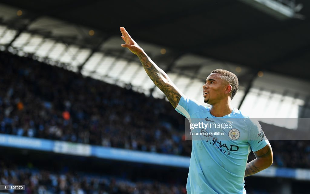 Gabriel Jesus of Manchester City celebrates scoring his sides second goal during the Premier League match between Manchester City and Liverpool at Etihad Stadium on September 9, 2017 in Manchester, England.