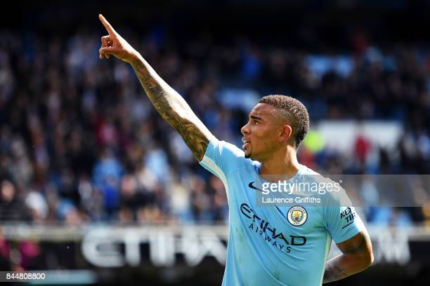 Gabriel Jesus of Manchester City celebrates scoring his sides second goal during the Premier League match between Manchester City and Liverpool at...