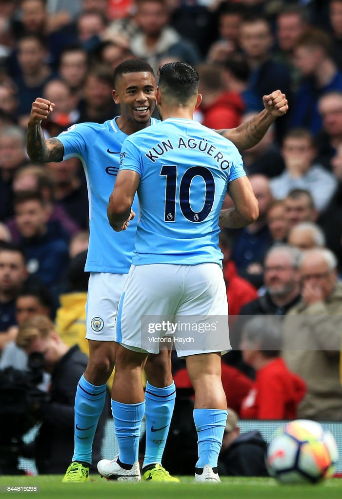 Gabriel Jesus of Manchester City celebrates scoring his sides third goal with Sergio Aguero of Manchester City during the Premier League match between Manchester City and Liverpool at Etihad Stadium on September 9, 2017 in Manchester, England.