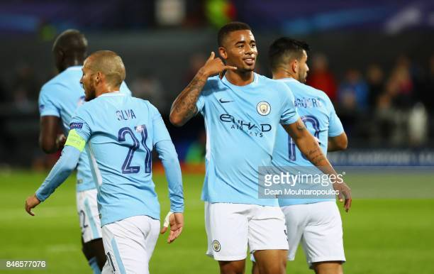 Gabriel Jesus of Manchester City celebrates scoring his sides third goal during the UEFA Champions League group F match between Feyenoord and...