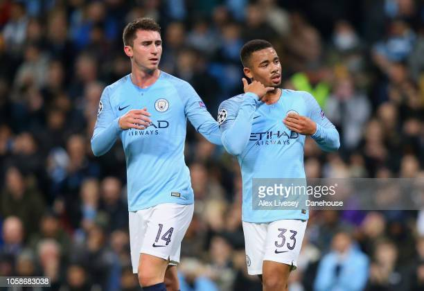 Gabriel Jesus of Manchester City celebrates with Aymeric Laporte after scoring the second goal from the penalty spot during the UEFA Champions League...