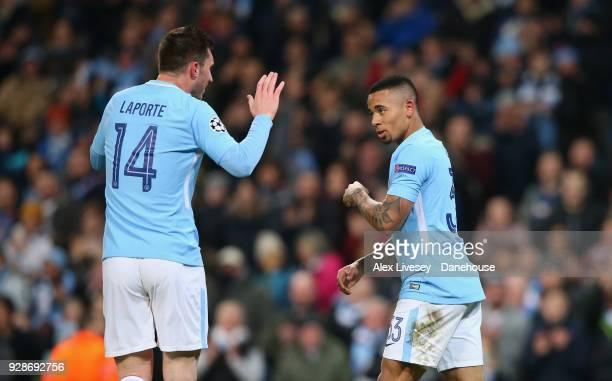 Gabriel Jesus of Manchester City celebrates with Aymeric Laporte after scoring the opening goal during the UEFA Champions League Round of 16 Second...