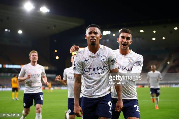 Gabriel Jesus of Manchester City celebrates with Ferran Torres after scoring his team's third goal during the Premier League match between...