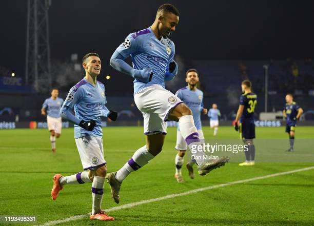 Gabriel Jesus of Manchester City celebrates with his team mates after scoring his team's second goal during the UEFA Champions League group C match...