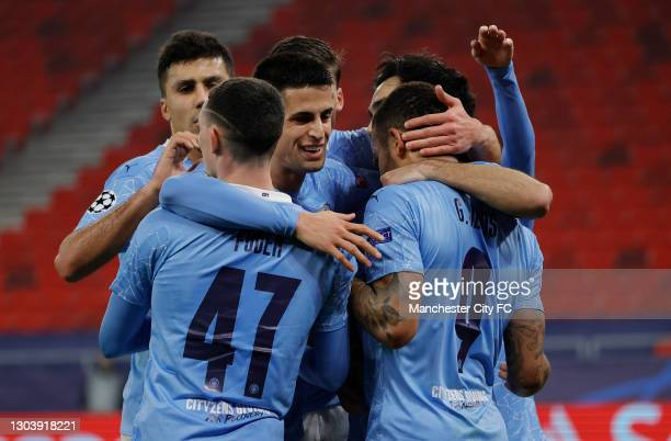Gabriel Jesus of Manchester City celebrates with his team mates after scoring their team's second goal during the UEFA Champions League Round of 16...