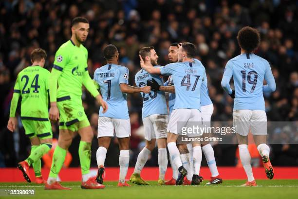 Gabriel Jesus of Manchester City celebrates with his teammates after he scores his team's seventh goal during the UEFA Champions League Round of 16...
