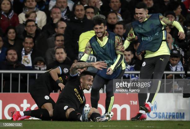 Gabriel Jesus of Manchester City celebrates with his teammates after scoring a goal during the UEFA Champions League round of 16 first leg soccer...