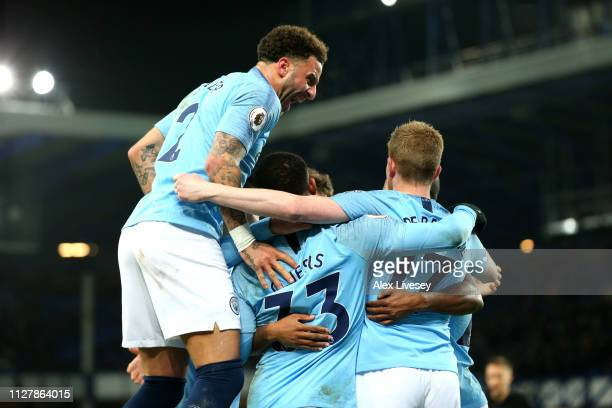 Gabriel Jesus of Manchester City celebrates with Kevin De Bruyne of Manchester City after he scores his sides second goal during the Premier League...