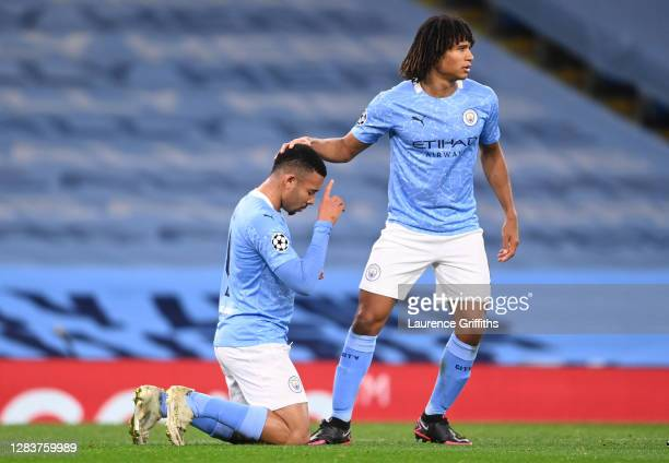 Gabriel Jesus of Manchester City celebrates with Nathan Ake of Manchester City after scoring his sides second goal during the UEFA Champions League...