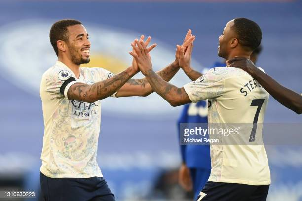 Gabriel Jesus of Manchester City celebrates with team mate Raheem Sterling after scoring their side's second goal during the Premier League match...