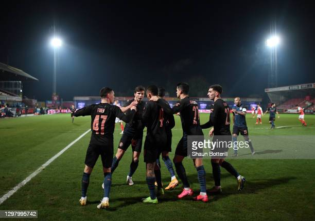 Gabriel Jesus of Manchester City celebrates with team mates after scoring their side's second goal during The Emirates FA Cup Fourth Round match...