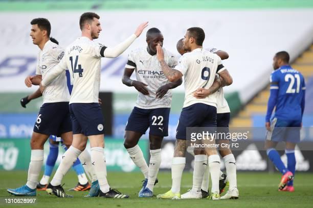 Gabriel Jesus of Manchester City celebrates with team mates Raheem Sterling, Fernandinho, Aymeric Laporte, Benjamin Mendy and Riyad Mahrez after...