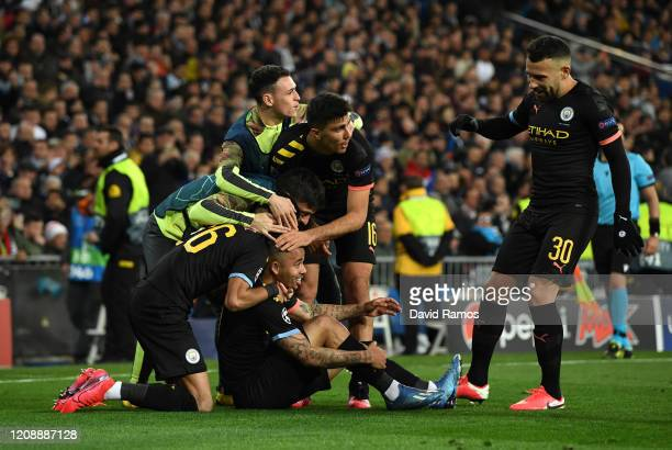 Gabriel Jesus of Manchester City celebrates with teammates after scoring his team's first goal during the UEFA Champions League round of 16 first leg...