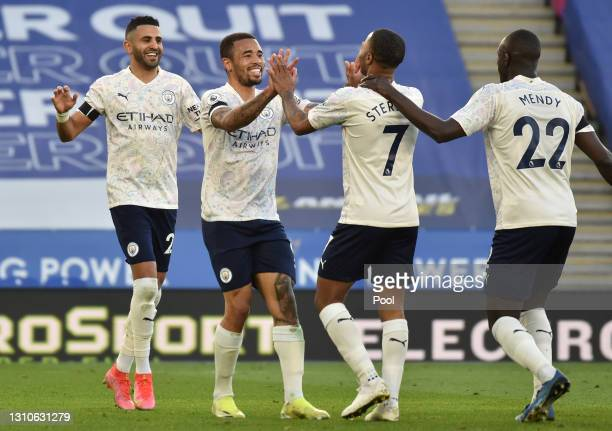 Gabriel Jesus of Manchester City celebrates with teammates Riyad Mahrez, Raheem Sterling and Benjamin Mendy after scoring their team's second goal...