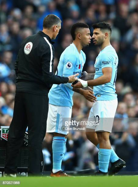 Gabriel Jesus of Manchester City comes on for Sergio Aguero of Manchester City during the Premier League match between Manchester City and Arsenal at...