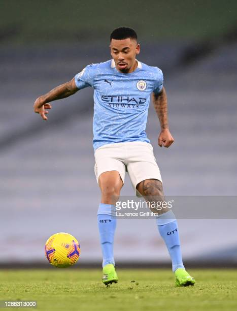 Gabriel Jesus of Manchester City controls the ball during the Premier League match between Manchester City and Burnley at Etihad Stadium on November...
