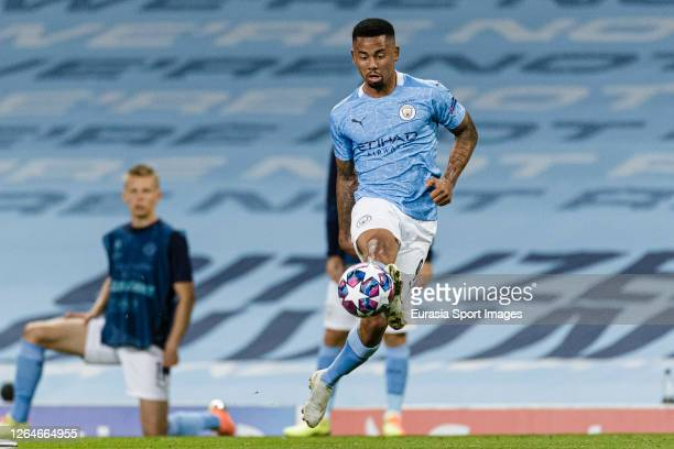 Gabriel Jesus of Manchester City controls the ball during the UEFA Champions League round of 16 second leg match between Manchester City and Real...