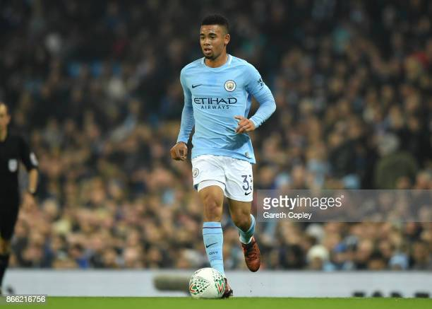 Gabriel Jesus of Manchester City during the Carabao Cup Fourth Round match between Manchester City and Wolverhampton Wanderers at Etihad Stadium on...