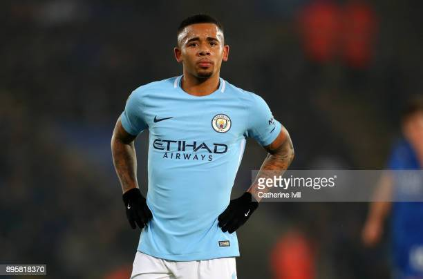 Gabriel Jesus of Manchester City during the Carabao Cup QuarterFinal match between Leicester City and Manchester City at The King Power Stadium on...