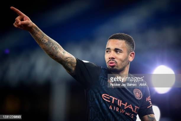 Gabriel Jesus of Manchester City during the Premier League match between Everton and Manchester City at Goodison Park on February 17, 2021 in...