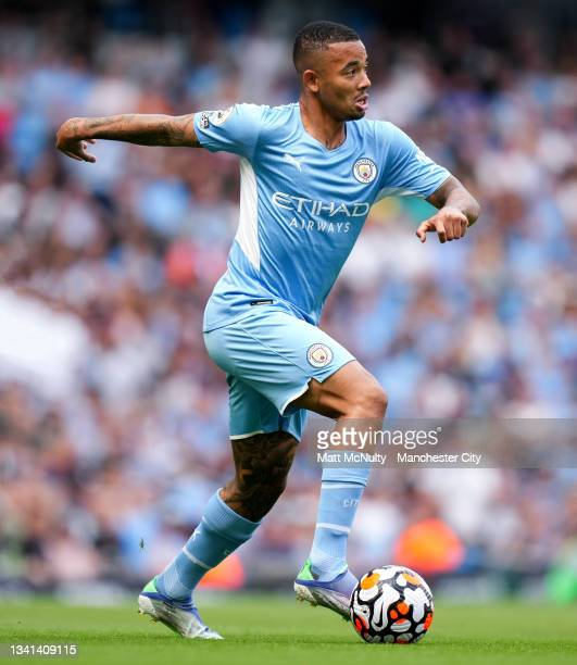 Gabriel Jesus of Manchester City during the Premier League match between Manchester City and Southampton at Etihad Stadium on September 18, 2021 in...
