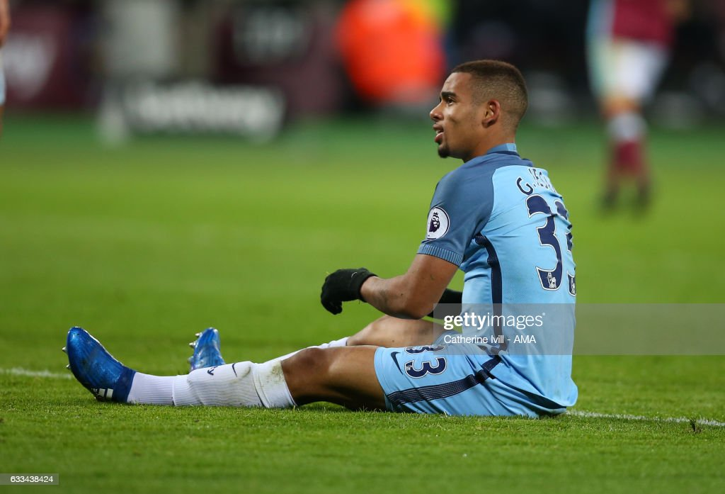 Gabriel Jesus of Manchester City during the Premier League match between West Ham United and Manchester City at London Stadium on February 1, 2017 in Stratford, England.