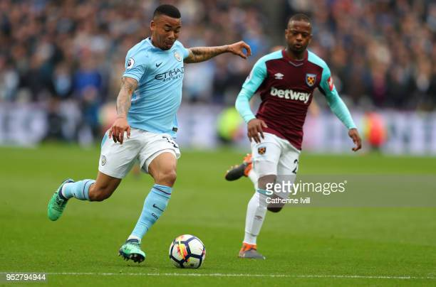 Gabriel Jesus of Manchester City during the Premier League match between West Ham United and Manchester City at London Stadium on April 29 2018 in...