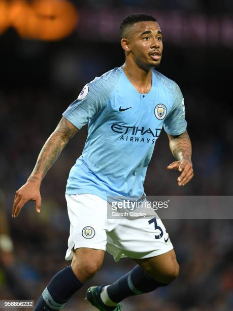 Gabriel Jesus of Manchester City during the Premier League match between Manchester City and Brighton and Hove Albion at Etihad Stadium on May 9 2018...