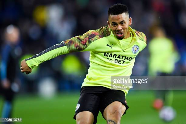 Gabriel Jesus of Manchester City FC in action during the warm up prior to the UEFA Champions League round of 16 first leg match between Real Madrid...