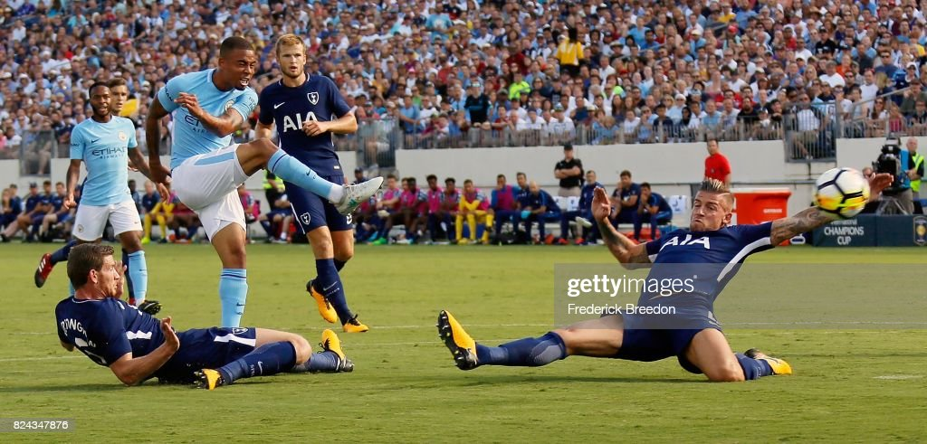 Gabriel Jesus #33 of Manchester City fires a shot between Jan Vertonghen #5 and Toby Alderweireld #4 of Tottenham during the first half of the 2017 International Champions Cup Presented by Heineken at Nissan Stadium on July 29, 2017 in Nashville, Tennessee.