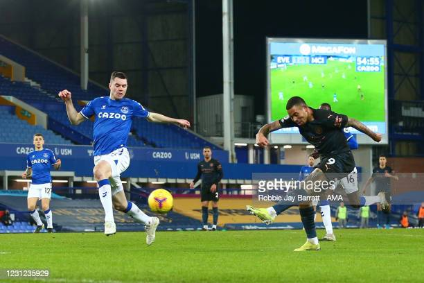 Gabriel Jesus of Manchester City has a shot during the Premier League match between Everton and Manchester City at Goodison Park on February 17, 2021...