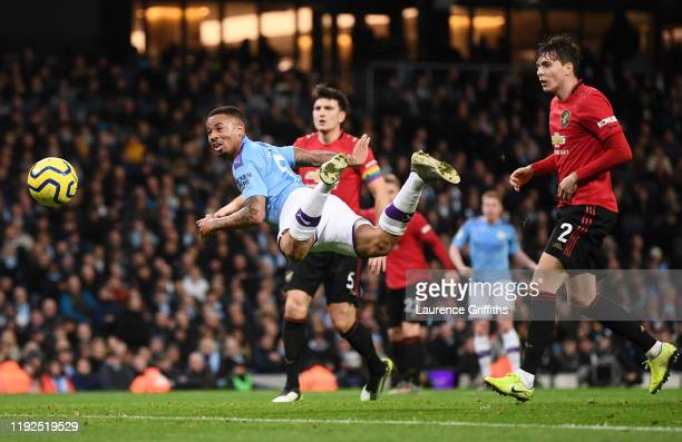 Gabriel Jesus of Manchester City heads towards goal during the Premier League match between Manchester City and Manchester United at Etihad Stadium...