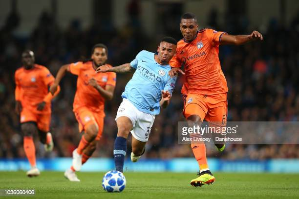 Gabriel Jesus of Manchester City holds off a challenge from Marcelo of Olympique Lyonnais during the Group F match of the UEFA Champions League...