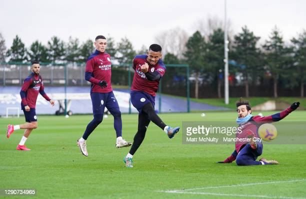 Gabriel Jesus of Manchester City in action during a training session at Manchester City Football Academy on December 11, 2020 in Manchester, England.