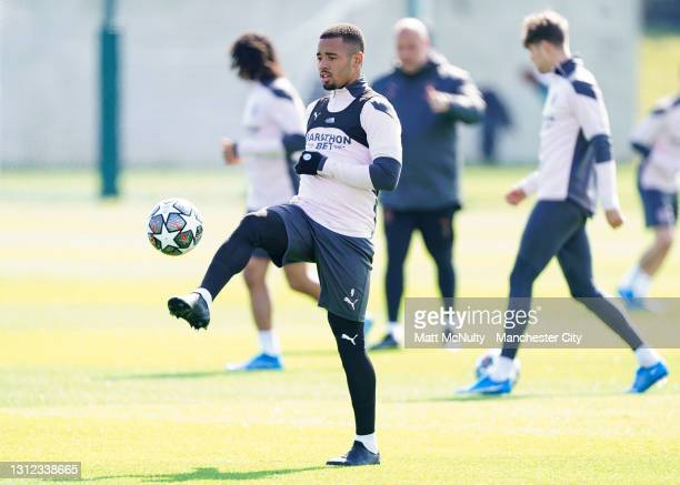 Gabriel Jesus of Manchester City in action during a training session at Manchester City Football Academy on April 13, 2021 in Manchester, England.