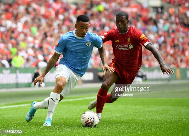 Gabriel Jesus of Manchester City in action during the FA Community Shield match at Wembley Stadium on August 04 2019 in London England