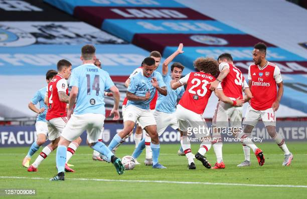 Gabriel Jesus of Manchester City in action during the FA Cup Semi Final match between Arsenal and Manchester City at Wembley Stadium on July 18 2020...
