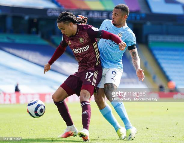 Gabriel Jesus of Manchester City in action during the Premier League match between Manchester City and Leeds United at Etihad Stadium on April 10,...