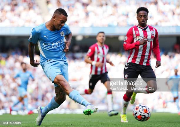 Gabriel Jesus of Manchester City in action during the Premier League match between Manchester City and Southampton at Etihad Stadium on September 18,...