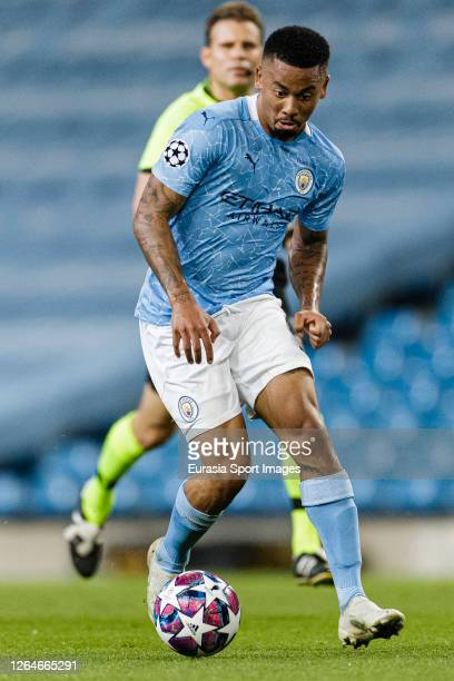 Gabriel Jesus of Manchester City in action during the UEFA Champions League round of 16 second leg match between Manchester City and Real Madrid at...