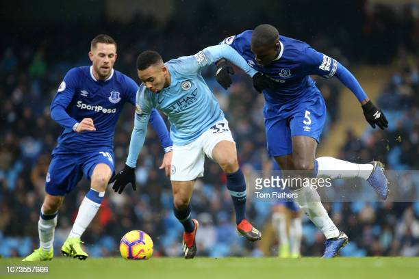 Gabriel Jesus of Manchester City is challenged by Kurt Zouma of Everton during the Premier League match between Manchester City and Everton FC at...