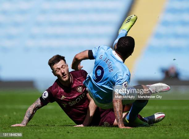 Gabriel Jesus of Manchester City is fouled by Liam Cooper of Leeds United resulting in a red card during the Premier League match between Manchester...
