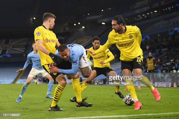 Gabriel Jesus of Manchester City is fouled by Thomas Meunier of Borussia Dortmund during the UEFA Champions League Quarter Final match between...
