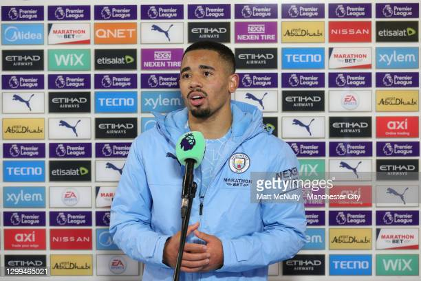 Gabriel Jesus of Manchester City is interviewed following the Premier League match between Manchester City and Sheffield United at Etihad Stadium on...