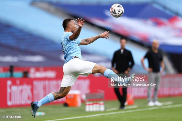 Gabriel Jesus of Manchester City jumps to control the ball during the FA Cup Semi Final match between Arsenal and Manchester City at Wembley Stadium...