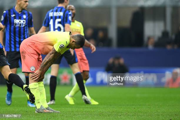 Gabriel Jesus of Manchester City looks dejected failing the penalty kickduring the UEFA Champions League group stage match between Atalanta and...