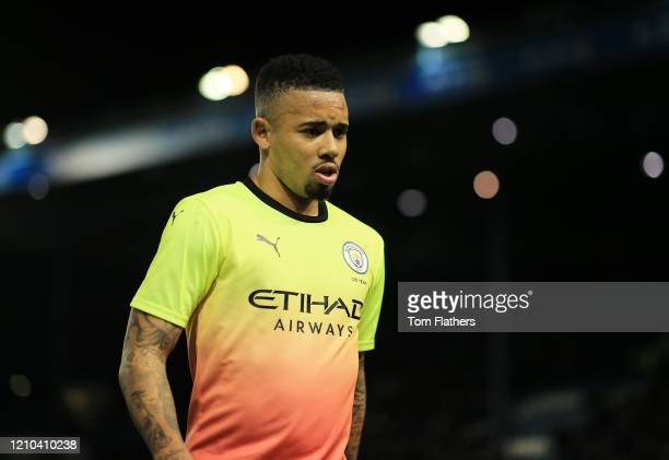 Gabriel Jesus of Manchester City looks on at half time during the FA Cup Fifth Round match between Sheffield Wednesday and Manchester City at...
