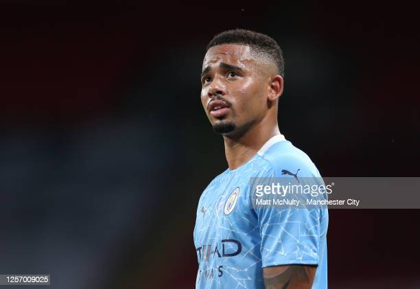 Gabriel Jesus of Manchester City looks on during the FA Cup Semi Final match between Arsenal and Manchester City at Wembley Stadium on July 18 2020...